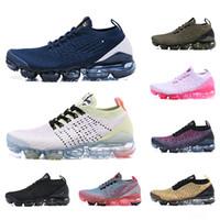 Wholesale light knit fabric resale online - 2019 New Fly Men Women Running Shoes Triple Black White Blue Knit s Jogging Sneakers Designer Sport Shoes