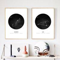 pinturas geométricas al por mayor-Pinturas Decoración Prints sesión geométrico minimalista Constelación Astrología Fotos Wall Art modular Estudio lona impresiones