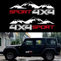 decalques jeep venda por atacado-2 pc branco 4X4 Montanha Etiqueta Do Carro Vinil Gráfico Para JEEP Pickup D-MAX Navara Caminhão Decalque SUV