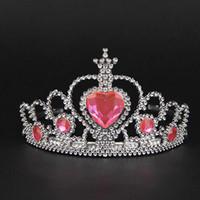 cabeça do coração do rosa de plástico venda por atacado-Conjuntos de jóias Bonito Rosa Fada Aniversário de Plástico coroas Strass Coração Princesa Tiara Hairband Meninas Acessórios Para o Cabelo Jóias