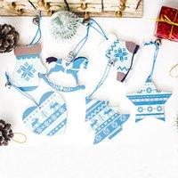 étoile bleue pour arbre de noël achat en gros de-1lot / 3pcs Nature Bois Bleu Star Horse Arbre De Noël Pendentif Décor À La Maison Nouvel An Suspendu Cadeau Ornements De Noël Décoration 62352