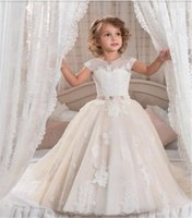 Wholesale cap sleeve lace up wedding dress for sale - Group buy Customized Ball Gowns with Pink Belt Tulle Lace Up Beading D Floral Appliques Beautiful Flower Girl Dress For Communion Prom