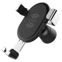 tragbare telefonhalterung großhandel-Tragbare Safe Ladegerät Schwerkraft Handyhalter Pad Einstellbare Qi Wireless Air Vent Ständer Autohalterung Für IPhone Für Samsung