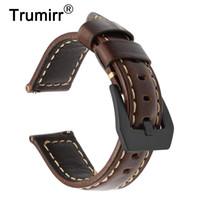 bracelets de montres en cuir vintage achat en gros de-Bracelet de montre en cuir véritable italien vintage 22mm pour Samsung Gear S3 Galaxy montre 46mm bande de libération rapide en acier boucle dragonne T190620