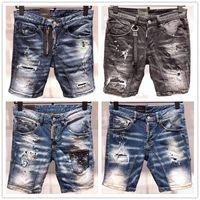 ingrosso jean stile sottile-Moda Estate Nuovo stile D2 Denim Jean Moto da uomo Streetwear Fori Shorts in denim Pantaloni Fori Bottoni Uomo corto Pantaloncini corti Jeans