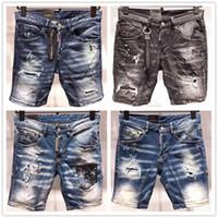nouveau short en jean pour hommes achat en gros de-Mode été nouveau style D2 Jean Jean hommes moto Streetwear Trous Denim Shorts Pantalon Trous Bouton Bouton Court Hommes Slim Shorts Jeans