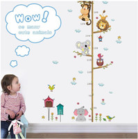 affe kinder dekor groihandel-Höhendiagramm Cartoon Tiere Löwe Affe Eule Elefant Höhe Maßnahme Wandaufkleber für Kinderzimmer Wachstum Chart Kinderzimmer Dekor Wandkunst
