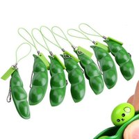 Wholesale pod peas for sale - Group buy New vent squeezing beans small toy pea pods simulation edamame decompression toys mobile phone key ring pendant