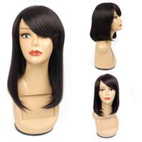 dantel ön bob peruk patlamaları toptan satış-Kadınlar Için kısa düz İnsan Saç Bob Peruk Doğal Renk 10 12 14 inç Brezilyalı Saç Ucuz Bob peruk ile Bang Toptan