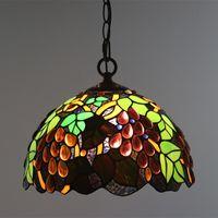 lustres en raisin achat en gros de-Style européen luxe pendentif vintage lumières vitrail raisins lustre hôtel restaurant bar café accrocher Lampen
