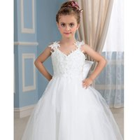 Wholesale puffy clothing online - New Girl Clothing Kids Dress Bear Puffy Toddler Children Dress Gown Flower Girl Dresses Formal