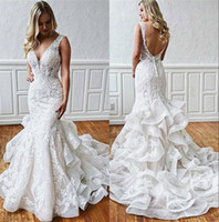 Wholesale layered tulle mermaid wedding dress resale online - Elegant Lace Mermaid Wedding Dresses V Neck Tulle Applique Layered Ruffles Backless Court Train Plus Size Wedding Bridal Gowns BC2329