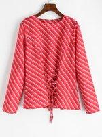 korsetts blusen großhandel-Joineles Frauen Oblique Striped Lace Up Bluse Frühling O-Neck Korsett Taille Bluse Tops 2019