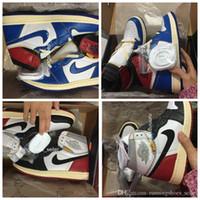 ayakkabıları yüksek kaliteli yeni toptan satış-2019 jordans Yeni Birliği x Hava 1 s Yüksek OG NRG Erkek Basketbol Ayakkabı En Kaliteli Fırtına Mavi Kurt Gri Siyah Retro Tasarımcı Spor Sneakers Boyutu 40-46