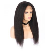 Wholesale italian yaki human hair lace wigs resale online - Full Lace Human Hair Wigs Kinky Straight Bleached Knots Free Part Virgin Malaysian Glueless Italian Yaki Lace Front Wig Pre Plucked Hairline