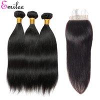 corante de cabelo loiro claro venda por atacado-Emilee 100% não processado Virgin indiano cutícula do cabelo Alinhados Cabelo Humano 3 + 1 3 pacotes com fecho 4 * 4 Lace