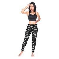 ingrosso matita di pipistrello-Leggings per ragazze Grigio Bat 3D Digital Full Print Figura intera Yoga Wear Pantaloni Donna Sportwear Pantaloni Lady Skinny Stretchy Pencil Fit (Y54602)