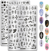 Wholesale painting stencil patterns resale online - 9 CM Leaves Flowers Pattern Nail Stamping Plates Image Painting Nail Art Stencils Template Manicure Stamp Tools