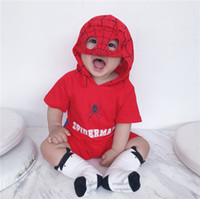 Wholesale mask characters resale online - Cute Ins Baby boy clothes Hero Mask Hooded Romper Jumpsuits Short sleeve Cotton Soft Baby clothing Hot selling