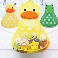 juguetes para niños pato al por mayor-bebé de almacenamiento de juguetes de baño Baby Shower Bath juguetes Little Duck pequeño bebé de la rana niños de juguete de almacenamiento de malla con fuertes ventosas bolsa de juguete de baño