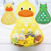 emme fincan saklaması toptan satış-Bebek banyo oyuncakları depolama Bebek Duş Banyo Oyuncakları Küçük Ördek Küçük kurbağa Güçlü Vantuz ile Bebek Çocuk Oyuncak Depolama Mesh Oyuncak Çanta banyo