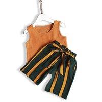 coletes de zebra do bebê venda por atacado-Verão novo estilo conjuntos de roupas meninas do bebê 2 pcs colete e calça curta crianças pano terno para meninas da criança
