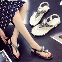 7641986c6 Girl temperament sandal Posymia flat bottom student beach sandal summer pin  string water drill Roman shoes