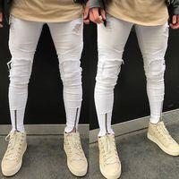 tasarım pantolonu erkek kot pantolon toptan satış-CANIS Erkekler Kot Streç Tahrip Yırtık Tasarım kot Erkekler Için hombre Moda Fermuar Sıska Erkekler Pantolon Beyaz
