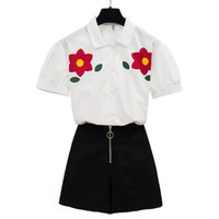 горячие черные юбки оптовых-sweet flower printed short sleeve white shirt & black skirt skirts two pcs women summer suits top outfit good quality Hot Sale