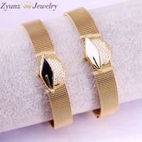 Wholesale belt watches for women resale online - 5PCS Enamel Spacer Bead Mesh Wristband Bracelet For Women Brands watch belt Bangle New Gift