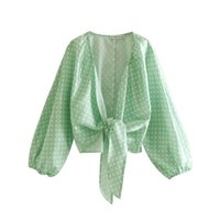 ingrosso blusas chiffon polka-nuove donne moda polka dot stampa casual breve camicetta dolce lanterna manica annodata camicia chic blusas chemise femminile LS3723