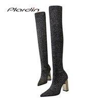 tecidos bling venda por atacado-Plardin new inverno concisa moda mulher sapatos de metal bombas de salto quadrado das mulheres bling tecido de lã material sobre o joelho botas
