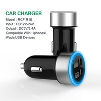 iphone usb chargeur adaptateur voiture eu achat en gros de-Chargeur de voiture double USB US EU UK Plug 5V 2.4A Led adaptateur de charge 2 ports pour Iphone Samsung Galaxy Note LG Tablet Ipad