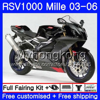 Wholesale aprilia rsv black fairing resale online - Body For Aprilia Glossy black RSV R RV60 Mille RSV1000 R RR HM RSV1000RR RSV1000R Fairings