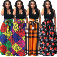 top etek uzun artı boyutu toptan satış-Afrika Kadınlar Boho Dashiki Elbise Uzun Maxi Pileli Etek Baskı Büstü Etek Balo Maxi Ekose Etek artı boyutu LJJA2888