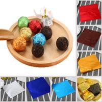 latas de chocolates venda por atacado-Diy alimentos folhas de alumínio papel 8 cm * 8 cm embalagem de doces de chocolate mix cores festa de aniversário wrap papel de lata