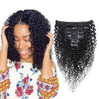 Wholesale brazilian remy jerry curl hair resale online - Brazilian Curly hair Clip In Human Hair Extensions Jerry Curl Natural Color Per Set Grams Remy human Hair Extension