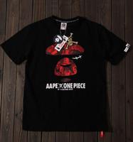camiseta de impresión de una pieza al por mayor-2019 nueva camiseta de los simios, hombres, mujeres, logotipo de una pieza, calavera roja, camiseta de manga corta con cuello en O camiseta de Sportwear al por mayor M-XXL