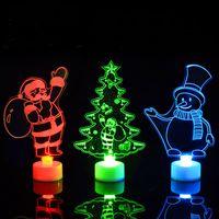 akrilik led yılbaşı ağaçları toptan satış-Merry Christmas Akrilik LED Işık Noel Ağacı Süsler Kolye Noel Baba Kardan Adam Işık Noel 2019 Navidad Dekor
