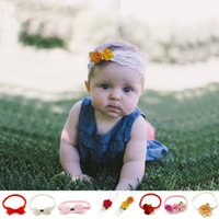 Wholesale green flowers hair decorations resale online - Baby Hair Band Kids Designer Headbands Bow Flower Decoration Elastic force Solid Color Children Gift Headband
