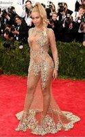 encontrar bolas venda por atacado-2019 NEW Sheer frisado vestido de noite Beyonce Met Ball tapete vermelho vestido de celebridades nuas ver através de vestido formal Sweep Train Backless