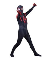 Wholesale zentai hero cosplay online - Spiderman Into the Spider Verse Miles Morales Cosplay Costume Superhero Spandex Zentai Bodysuit Halloween Party suit free delivery