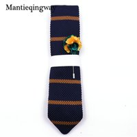 broche de tricô venda por atacado-Mantieqingway Marca Malha Ties + Broche Set Tricô Gravatas para Mens Gravatas Magros Corbatas Vestidos Negócios Gravata