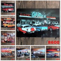 Wholesale tin signs vintage cars resale online - Tin Signs Cars Diner Route Vintage Wall Art Retro TIN SIGN Wall Metal Painting ART Bar Man Cave Pub Restaurant Home Decoration