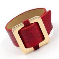 браслеты из змеиной кожи оптовых-Европейская и американская ювелирных изделия новая имитация змеиной шаблон PU кожа личности женщины широкого браслета браслет многоцветного