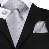 Wholesale silk sliver for sale - Group buy Hi Tie Neck Tie Set Novelty Jacquard Sliver Grey Pink Dot Silk Tie for Man Necktie Pocket Square Cufflinks Free Drop Shipping N