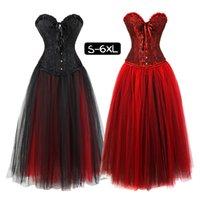 frauen gothic clubwear kleid großhandel-Frauen Rüschen Gothic Halloween Lace Up Korsett Kleid Rock Showgirl Clubwear Kostüm Petticoat Röcke Plus Größe 6XL