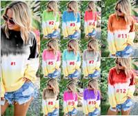 ingrosso camicia di colore gradiente-Camicie casual da donna S-5XL Camicie con cappuccio arcobaleno allentato Gradiente cravatta colorante felpe a maniche lunghe Pullover Camicie Plus Size Panno per dormire B82201