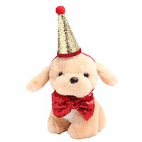 Wholesale red birthday party hats resale online - 2Pcs set Pet Dogs Caps With Bowknot Cat Dog Birthday Costume Sequin Design Headwear Cap Hat Christmas Party Pets Accessories