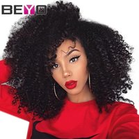 peluca afros al por mayor-Afro Kinky Curly 360 Lace Frontal Peluca Pre Plucked With Baby Hair Brasileño Frente de encaje Pelucas de cabello humano para mujer Remy 150% Beyo